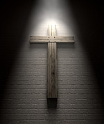 Crucifix On A Wall Under Spotlight Print by Allan Swart
