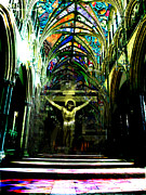 Karine Percheron-daniels Prints - Crucifix Reflexions Print by Karine Percheron-Daniels