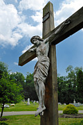 Easter Framed Prints - Crucifix Statue St James Cemetery Sewickley Heights Pennsylvania Framed Print by Amy Cicconi