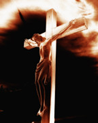 Christian Sacred Digital Art Metal Prints - Crucifix Metal Print by Steve Hurt