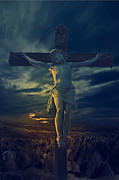 Christian Art Pyrography Metal Prints - Crucifixcion Metal Print by Jelena Jovanovic