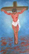 Bible Drawings Originals - Crucifixion 9x18 Inches Oil On Canvas May 2009 by Newman Mendes