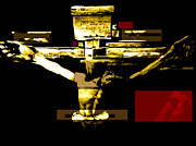Christ Pyrography Prints - Crucifixion in red gold and black Print by Karine Percheron-Daniels