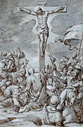 Christian Drawings Prints - Crucifixion Print by Johann or Hans von Aachen