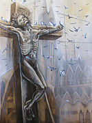 Christianity Pastels - Crucifixion by Julie Sneeden