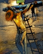 Christ Pictures Digital Art - Crucifixion - Stained Glass by Ray Downing