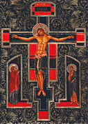 Orthodox Painting Framed Prints - Crucifixion Framed Print by Yordanka Karalamova