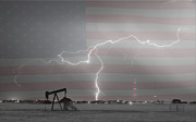 Lightning Strike Posters - Crude Oil and Natural Gas Striking Across America BWSC Poster by James Bo Insogna