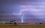 American Oil Wells Posters - Crude Oil and Natural Gas Striking Across America Poster by James Bo Insogna