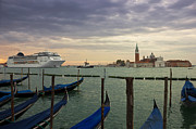 Cruise Ship Entering The Venice Lagoon At Dawn Print by Kiril Stanchev