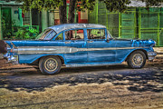 Blue Chevy Prints - Cruisin Havana Print by Erik Brede