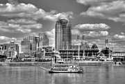 Baseball Stadiums Framed Prints - Cruising By Cincinnati 4 BW Framed Print by Tri State Art