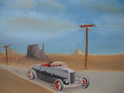 Rat Rod Painting Posters - Cruising Down the Highway Poster by Christopher Callen