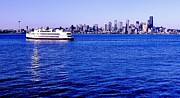 Seattle Skyline Posters - Cruising Elliott Bay Poster by Benjamin Yeager