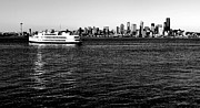 Seattle Skyline Posters - Cruising Elliott Bay Black and White Poster by Benjamin Yeager