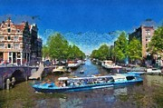 Netherlands Paintings - Cruising in Amsterdam by George Atsametakis