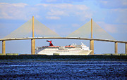 Sunshine Skyway Bridge Prints - Cruising Tampa Bay Print by David Lee Thompson
