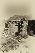 Ghost Town Outhouse Prints - Crumbling Rock Wall with Door Print by Russell Shively