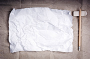 Crinkled Prints - Crumpled Writing Paper Background Print by Tim Hester