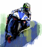 Motorcycle Racing Art Painting Framed Prints - Crutch Cal Crutchlow Framed Print by Iconic Images Art Gallery David Pucciarelli