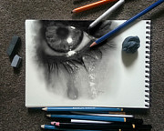 Hand Heart Drawings Originals - Cry by Bijan Habashi