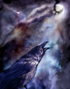 Fantasy Art Giclee Posters - Cry Of The Raven Poster by Carol Cavalaris