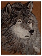 Animals Tapestries - Textiles Prints - Cry Wolf Print by Bonnie Nash