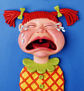 Yellow Sculpture Prints - Crying Girl Print by Amy Vangsgard