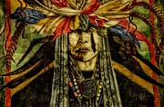Mascot Mixed Media Metal Prints - Crying Indian Metal Print by Todd and candice Dailey