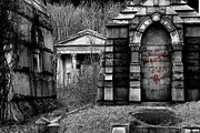 Forgive Prints - Crypts and Devil Graffiti Mt. Moriah Cemetery Yeadon Pennsylvania Print by John Hanou