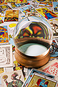 Enlightenment Posters - Crystal ball and tarot cards Poster by Garry Gay