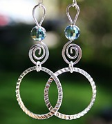 Featured Jewelry Metal Prints - Crystal Ball Earrings Metal Print by Kelly Nicodemus-Miller