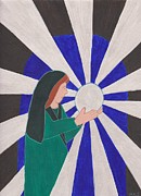 Crystal Drawings Prints - Crystal Ball Reader Print by Barbara St Jean