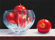 Apples Paintings - Crystal Bowl with Apples by Jean Yates