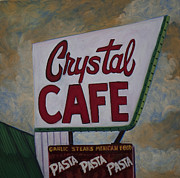 Small Towns Painting Metal Prints - Crystal Cafe Metal Print by Katrina West