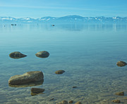 Winter Scene Metal Prints - Crystal Clear Lake Tahoe Metal Print by Kim Hojnacki