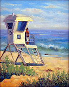 Beach Themed Art Posters - Crystal Cove Plein Air Poster by Carol Landry