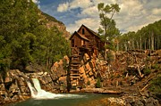 Mill On A Cliff Framed Prints - Crystal Falls Below The Mill Framed Print by Adam Jewell