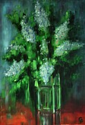 Glass Table Reflection Painting Originals - Crystal Flowers by George Dadiani