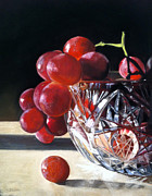 Fruit Still Life Posters - Crystal Grapes Poster by Cristine Kossow
