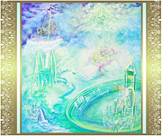 Otherworldly Painting Prints - Crystal Kingdom with Scroll Border Print by Joyce Jackson