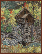 Landscape Greeting Cards Tapestries - Textiles Posters - Crystal Mill Poster by Dena Kotka