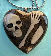 Resin Jewelry - CSI Crime Scene - Buried Alive Bones In Dirt Necklace by Razz Ace