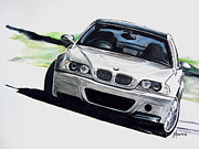 Motorsport Drawings - CSL Powerslide by Indaguis Montoto