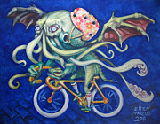 Lovecraft Prints - Cthulhu on a Bicycle Print by Ellen Marcus