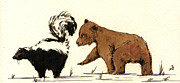 Playing Painting Originals - Cub bear playing with skunk by Juan  Bosco