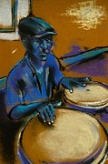 Cuba Pastels Framed Prints - Cuban Bongo Player Framed Print by Danyl Cook