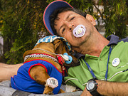 Perros Photos - Cuban Man with Binky and Dog by David Litschel
