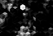 Visual Language Posters - Cubed - Black and White Poster by Jack Zulli