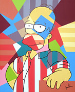 Simpson Paintings - Cubes Stripes and Homer by Ian  King
